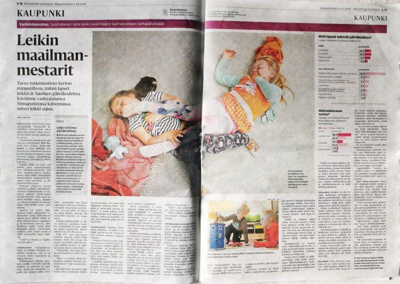Leikkiin liittyviä Kehittävän Palautteen tuloksia Helsingin Sanomissa